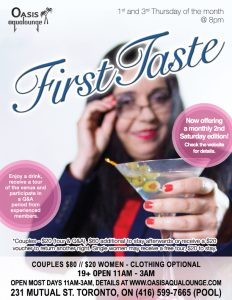 First Taste: Every 1st and 3rd Thursday & One Saturday monthly at Oasis Aqualounge @ Oasis Aqualounge | Toronto | Ontario | Canada