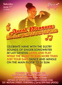 Aural Pleasure; Live Jazz with Selah Genesis