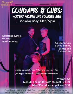COUGARS AND CUBS: MATURE WOMEN MEET YOUNGER MEN